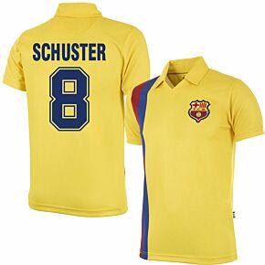 81-82 Barcelona Away Retro Shirt + Schuster 8 (Retro Flock Printing)