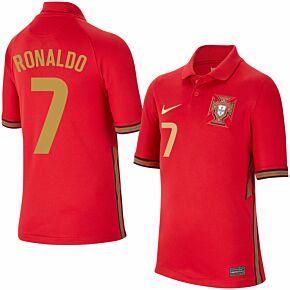 20-21 Portugal Home Shirt - Kids + Ronaldo 7 (Fan Style Printing)