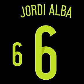 Jordi Alba 6 - Spain Away Official Name & Number 2014 / 2015