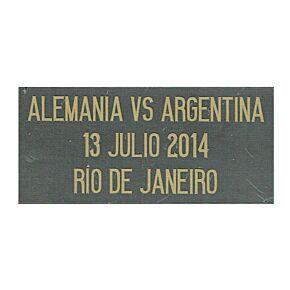 World Cup 2014 Final Transfer Alemania vs Argentina 13 Julio 2014 Rio De Janeiro