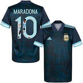 20-21 Argentina Away Shirt + Maradona 10 (Gallery Style Printing)
