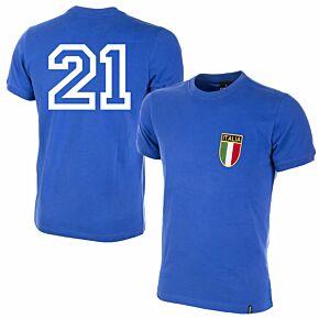 1970 Italy Home Retro Shirt + No.21 (Retro Flock Printing)