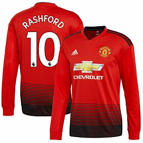 Manchester United Home L/S Rashford 10 Jersey 2018 / 2019 (Authentic EPL Printing)