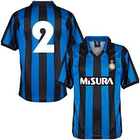 1990 Inter Milan Home Retro Shirt + No.2 (Retro Flock Printing)
