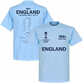 England Cricket World Cup Winners Road to Victory Tee - Sky