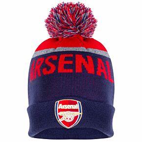 Arsenal Text Bobble Ski Hat - Navy/Red