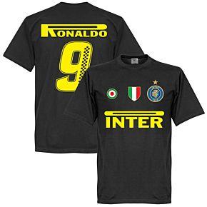Inter Ronaldo 9 Team T-Shirt- Black (Racing Style BackPrint)