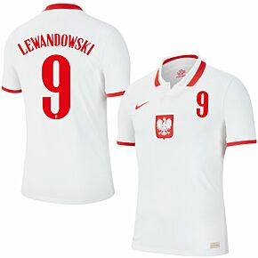 20-21 Poland Vapor Match Home Shirt + Lewandowski 9 (Official Printing)