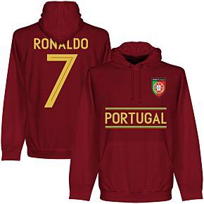Portugal Ronaldo Team Hoodie - Maroon
