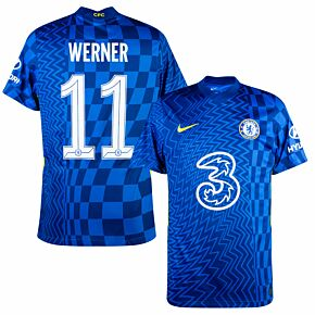 21-22 Chelsea Home Shirt + Werner 11 (Official Cup Printing)