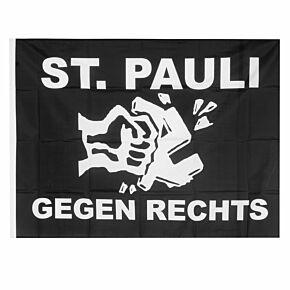 St Pauli Gegen Rechts Large Flag (90 x 120 cm) - Black White