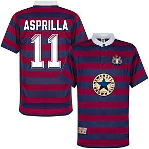1996 Newcastle Away Shirt + Asprilla 11 (Retro Flock Printing)