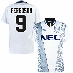 1995 Everton Away Retro Shirt - Umbro + Ferguson 9 (Retro Flock Printing)