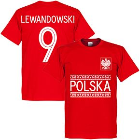 Poland Lewandowski 9 Team Tee - Red
