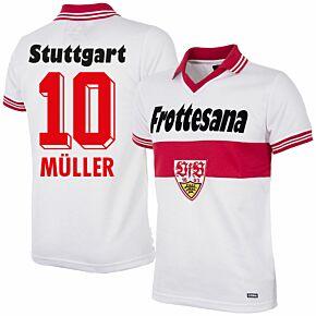 77-78 VFB Stuttgart Home Retro Shirt + Müller 10 (Retro Flock Printing)