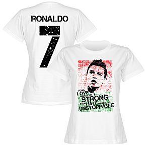 Ronaldo 7 Portugal Flag Womens Tee - White