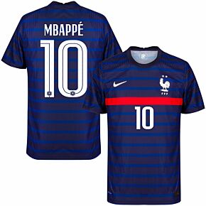 20-21 France Vapor Match Home Shirt + Mbappé 10 (Official Printing)