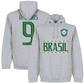 Brazil G. Jesus 9 Team Hoodie - Grey