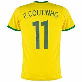 Philippe Coutinho Signed Brazil Retro Home Shirt -