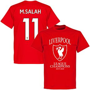 Liverpool 2020 League Champions Crest M. Salah 11 T-shirt - Red