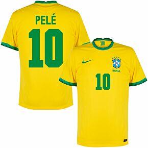 20-21 Brazil Home Shirt + Pele 10 (Fan Style)