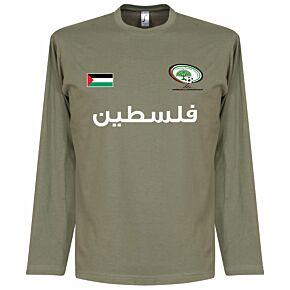 Palestine L/S Football Tee - Khaki