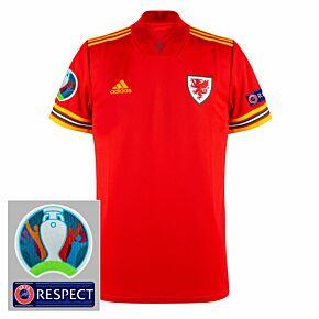 20-21 Wales Home Shirt + Official Euro 2020 Patches