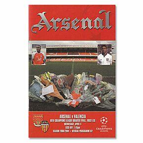 Arsenal vs Valencia C/L Quarter Final 1st Leg at Highbury Program - April 4, 2001