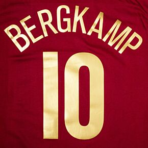 Bergkamp 10 (C/L Style) - Highbury Commemorative Name and Number - Gold Flex C/L Style