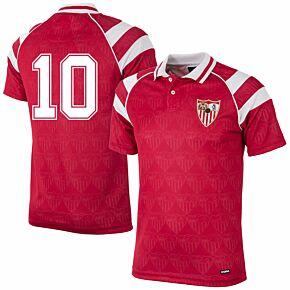 92-93 Sevilla Away Retro Shirt + No.10 (Retro Flock Printing)
