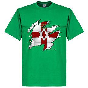 Northern Ireland Ripped Flag KIDS Tee - Green