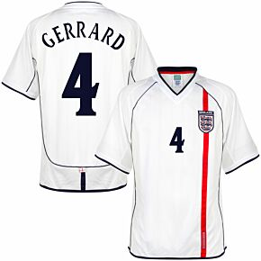 2002 England Home Retro Shirt + Gerrard 4 (Retro Flock Printing)