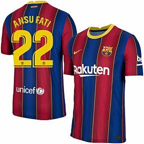 20-21 Barcelona Vapor Match Home Shirt + Ansu Fati 22 (Match Pro Printing)