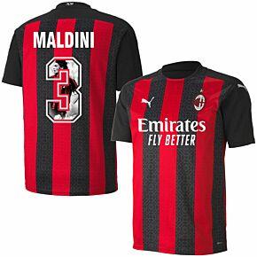 20-21 AC Milan Home Shirt + Maldini 3 (Gallery Style)
