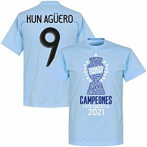 Argentina 2020 Copa America Champions Kun Agüero 9 T-shirt - Sky Blue