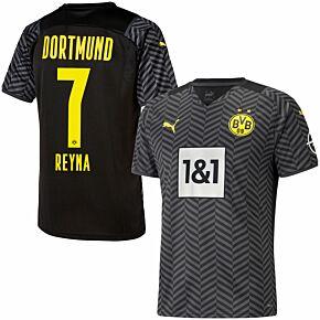 21-22 Borussia Dortmund Away Shirt + Reyna 7 (Official Printing)