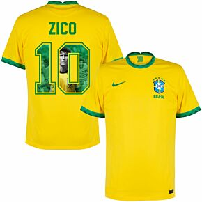 20-21 Brazil Home Shirt + Zico 10 (Gallery Style)