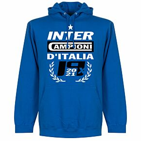Inter 2021 Champions Hoodie - Royal Blue