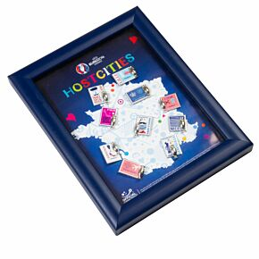 Official Euro 2016 Host Cities Pin Badge Collection in Wooden Frame