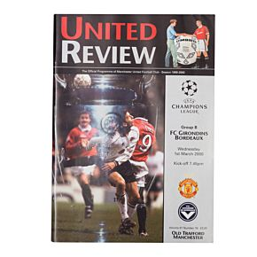 Man Utd vs Girondins Bordeaux C/L Group B Match at Old Trafford Program - March 1, 2000
