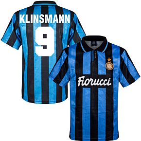 91-92 Inter Milan Home Retro Shirt + Klinsmann 9 (Retro Flock Printing)