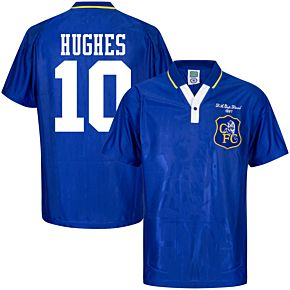 1997 Chelsea Home Retro FA Cup Final Shirt + Hughes 10 (Retro Flock Printing)