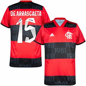 2021 Flamengo Home Shirt + De Arrascaeta 15 (Fan Style Printing)