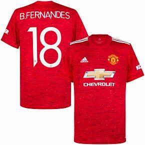 20-21 Man Utd Home Shirt + B. Fernandes 18 (Official Cup Printing)