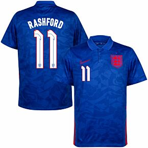 20-21 England Away Shirt + Rashford 11 (Official Printing)