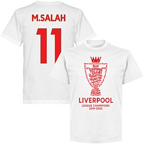 Liverpool 2020 League Champions Trophy M. Salah 11 T-shirt - White