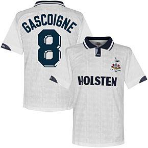 1991 Tottenham Home FA Cup Final Retro Shirt + Gascoigne 8 (Retro Flock Printing)