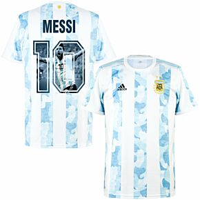 2021 Argentina Home Shirt + Messi 10 (Gallery Style Printing)