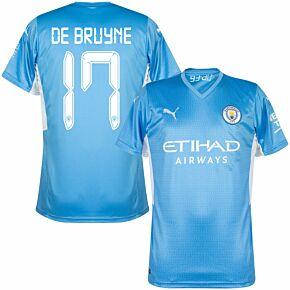 21-22 Man City Home Shirt + De Bruyne 17 (Cup Printing)