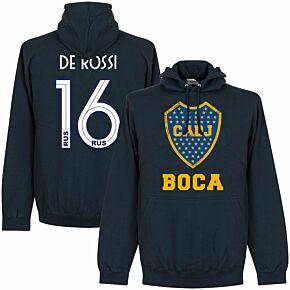 Boca CABJ Crest De Rossi 16 Hoodie - Navy (2019-2020 Style Back Print)